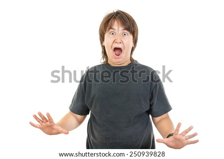 Shocked and scared young caucasian chubby kid or boy gesturing surprise  holding his hands widespread, isolated on the white background - stock photo