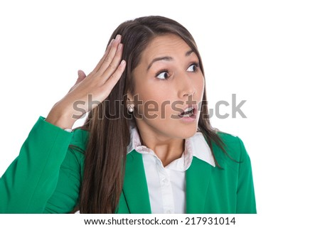 Shocked and speechless isolated business woman looking sideways to text. - stock photo