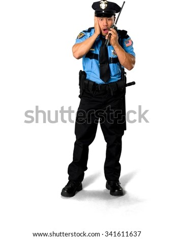 Shocked Asian man with short black hair in uniform using walkie-talkie - Isolated
