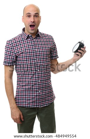 shocked bald man with alarm clock isolated on white background