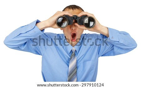 Shocked business man with blue tie with binoculars isolated on white background