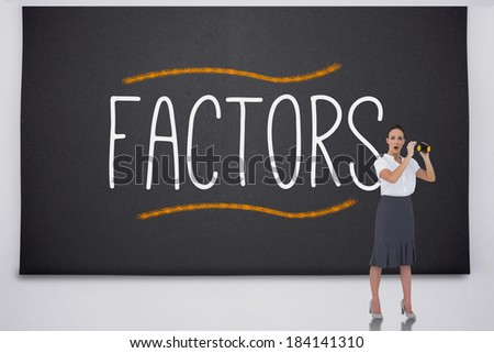 Shocked businesswoman with binoculars against the word factors - stock photo