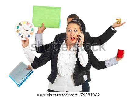 Shocked busy business woman talking by phone mobile isolated on white background - stock photo