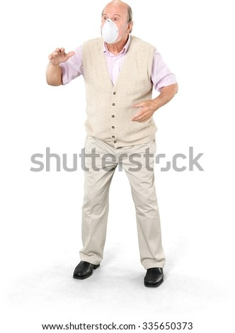 Shocked Caucasian elderly man with short grey hair in casual outfit talking with hands - Isolated