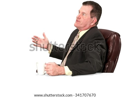 Shocked Caucasian elderly man with short medium brown hair in business formal outfit holding office chair - Isolated - stock photo
