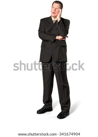 Shocked Caucasian elderly man with short medium brown hair in business formal outfit with hands on face - Isolated - stock photo