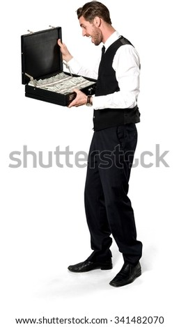 Shocked Caucasian man with short dark brown hair in business formal outfit holding briefcase - Isolated