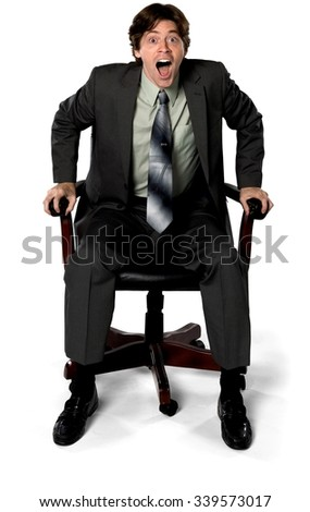 Shocked Caucasian man with short dark brown hair in business formal outfit - Isolated
