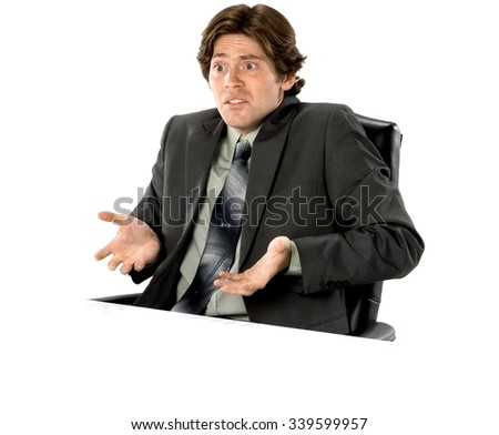 Shocked Caucasian man with short dark brown hair in business formal outfit with hands open - Isolated