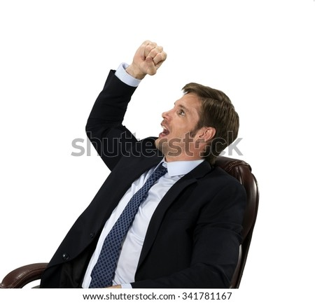 Shocked Caucasian man with short medium blond hair in business formal outfit shaking fist - Isolated