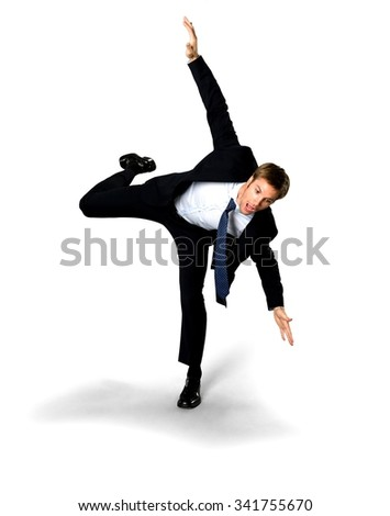 Shocked Caucasian man with short medium blond hair in business formal outfit with arms open - Isolated