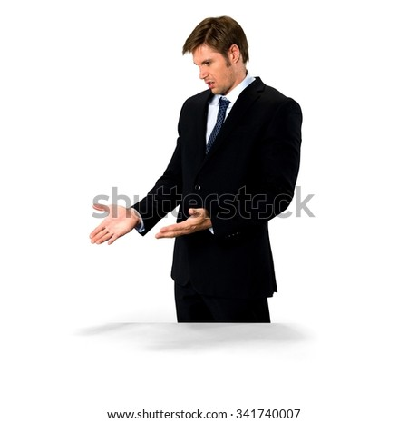 Shocked Caucasian man with short medium blond hair in business formal outfit with hands open - Isolated