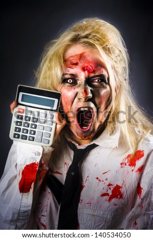 Shocked dead finance accountant holding calculator when working out a monstrous tax debt . Return from the dead