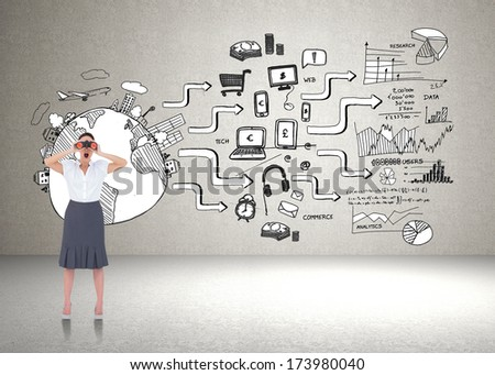 Shocked elegant businesswoman looking through binoculars against brainstorm on the wall - stock photo