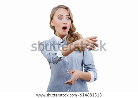 Shocked emotional woman with opened mouth