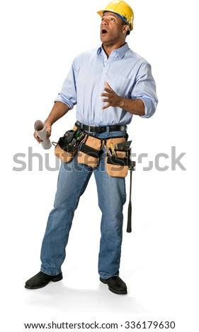 Shocked Male Construction Worker with short black hair in uniform holding blueprints - Isolated