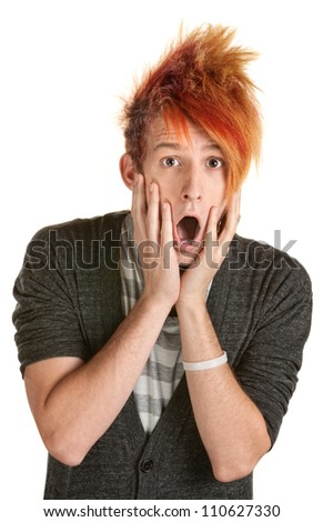 Shocked man in orange spiky hair over white background