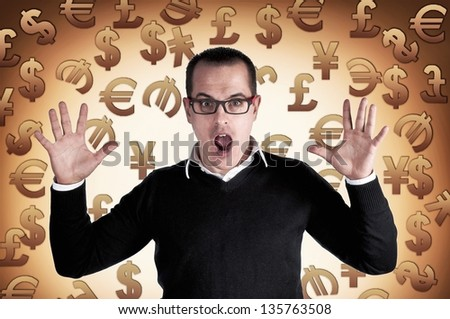 Shocked man with currency symbols background - stock photo