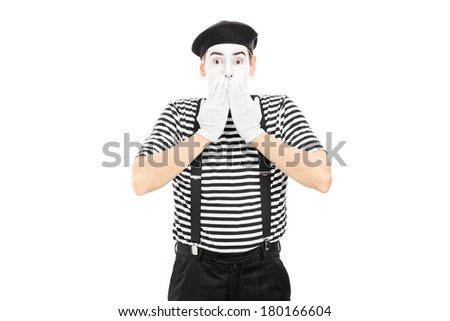 Shocked mime artist standing in disbelief isolated on white background - stock photo