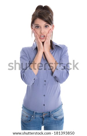 Shocked or amazed young woman isolated on white. - stock photo