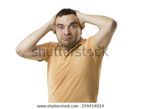 shocked perplexity frustrated emotions expressive face. raised his hands. White background. Studio shot - stock photo