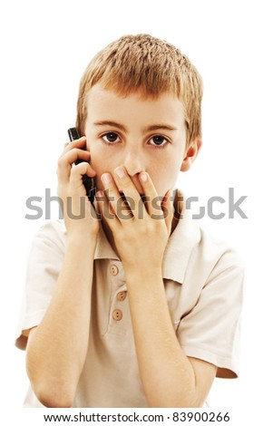 Shocked Phone Boy, With Hand Over Mouth. - stock photo