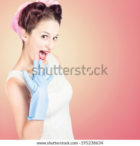 Shocked pin-up girl with funny expression wearing domestic cleaning hand gloves in vintage style - stock photo