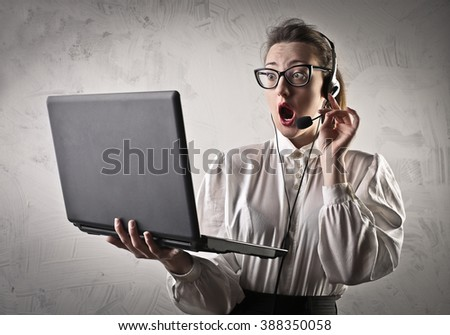 Shocked receptionist - stock photo