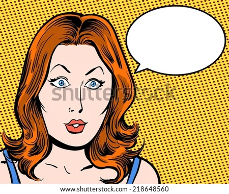 shocked redhead beauty comic pop art with speech bubble and orange background - stock photo
