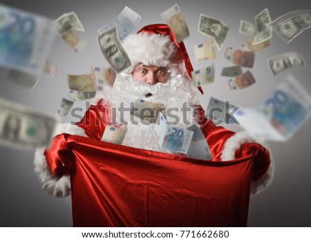 Shocked Santa Claus is looking in to the sack with Euro and dollars. Consumerism concept.