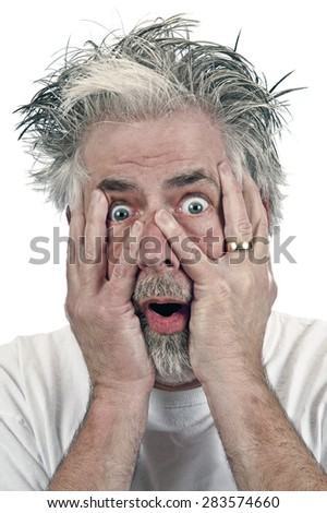 Shocked senior married man on white background/ Shocked Married Man