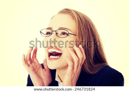 Shocked surprised beautiful business woman.  - stock photo