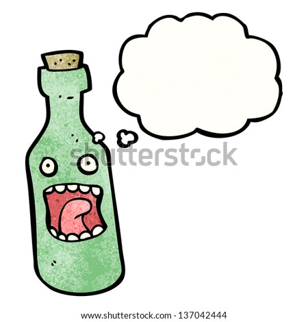 shocked wine bottle cartoon - stock photo