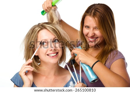 Shocked woman have a bad haircut in the salon and crazy barber, over white - stock photo