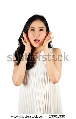 Shocked woman wearing stylish hat looking at camera and white background with clipping path - stock photo