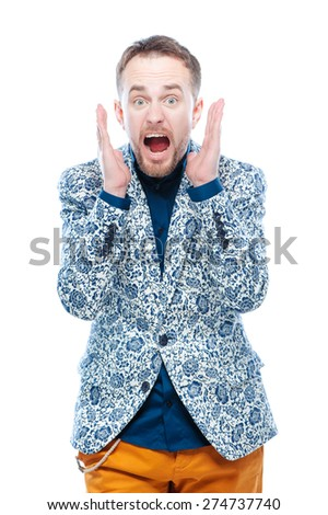 Shocking news! Surprised Young  man isolated on white background. - stock photo