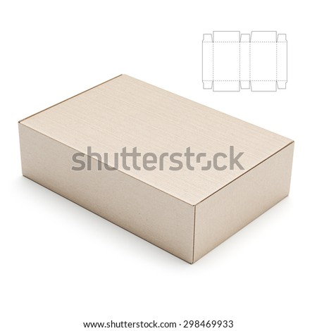 Shoe Box with Lid and Die Line Blueprint