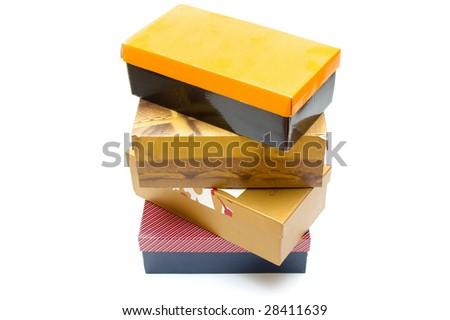 Shoe boxes on white background - stock photo