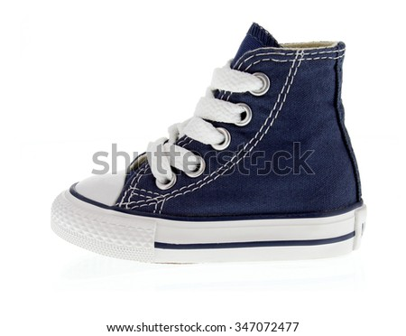 shoe, denim sneakers, trainers, white background, studio