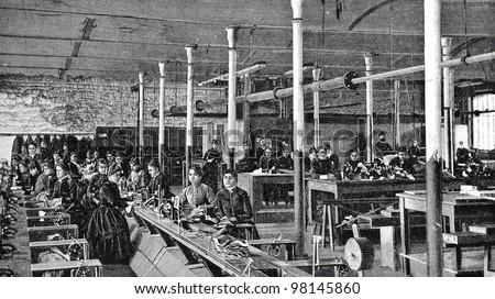 """Shoe factory in St. Petersburg. Engraving by  Flyugel. Published in magazine """"Niva"""", publishing house A.F. Marx, St. Petersburg, Russia, 1888 - stock photo"""