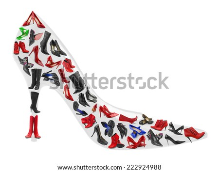Shoe made of woman footwear isolated on white background - stock photo