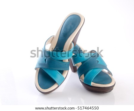 shoe or blue color lady shoes on a background