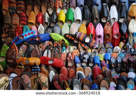 Shoe paradise in the Old Medina - stock photo