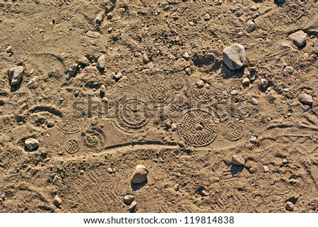 Shoe Print in Sand - stock photo