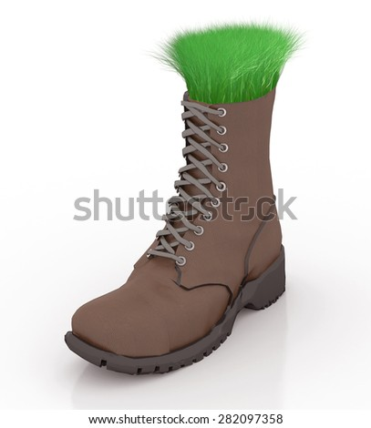 Shoe with grass inside, go green comfortable, isolated 3d illustration - stock photo