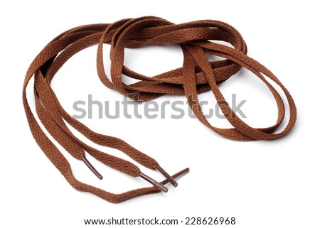 Shoelaces on white background - stock photo