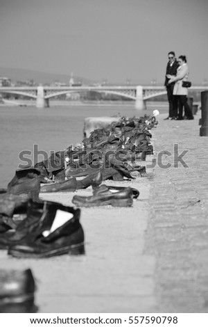 Shoes along Danube promenade memorial