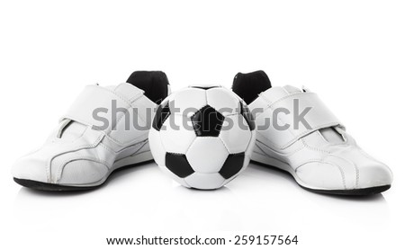 shoes and a football isolated on white background.   soccer ball and sport shoes