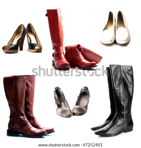 shoes and boots isolated on white background collection - stock photo