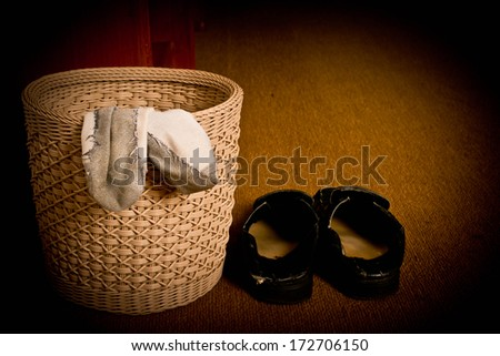 Shoes and socks that do not wash - stock photo